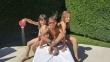 Benedetta Chiara e Corrado in piscina